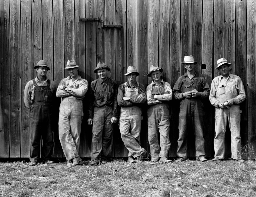 Farmers who have bought machinery cooperatively, Dorothea Lange, 1939.